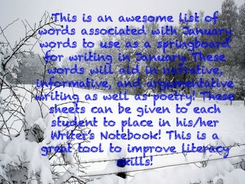 January Word Bank for Writing Essays and Poetry!