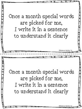 January Word Booklet and Coordinating Poster