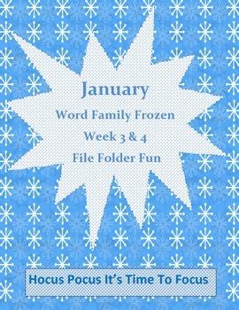 Word Family Frozen Literacy Center Week 3 & 4 (ight, oat, all, ew)