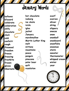 January Word List