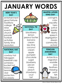 January Word Lists