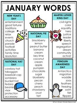 January Word Lists
