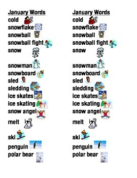 January Word Picture Sentence Helpers