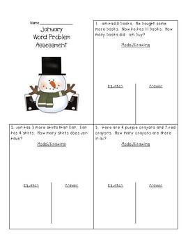 January Word Problem Assessment