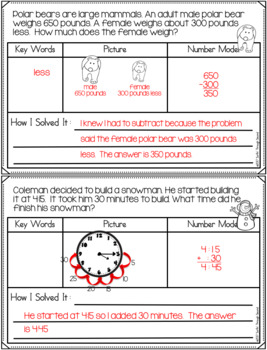 January Word Problems for Second Grade Common Core Aligned