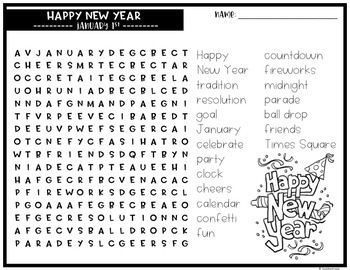 January Word Search Puzzles