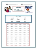 January Word Search- primary