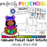 January Word Wall Calendar Pocket Chart Activity