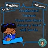 January Word Wall Words (Chalkboard Labels Decor Add On)