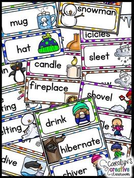 January Word Wall Words - Winter, MLK, Arctic Animals