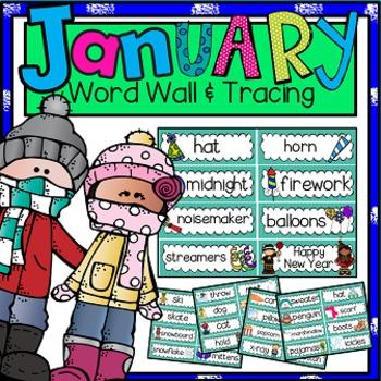 Word Wall and Tracing: January (Winter, Seasons, Handwriting, New Year's)