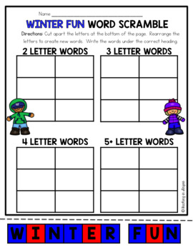 January Word Work: Word Scramble Puzzles
