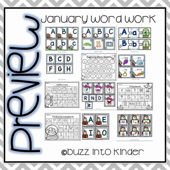 January Word Work for Kindergarten