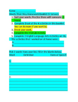 January Words Their Way Packet/Self Reflection and Parent/Guardian Reflection