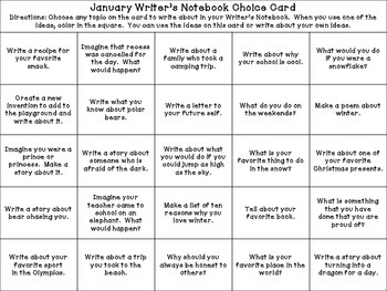 January Writer's Choice Board / Calendar Prompts for Writer's Notebook