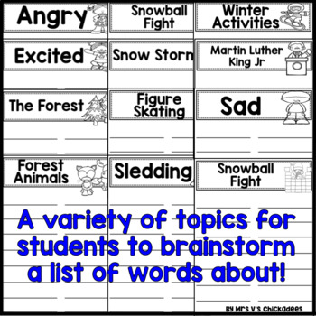 January  Writing Activity: Brainstorming Organizer and List Making Paper