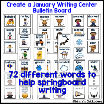 January Writing Activity: Bulletin Board Vocabulary Words & Word Rings