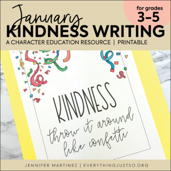 January Writing Activity | Thankful for Kindness Writing | New Year's Writing
