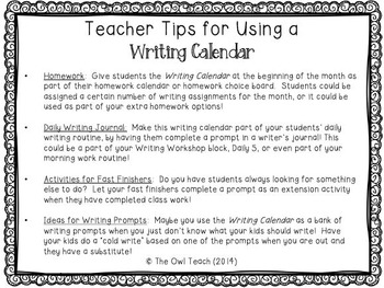 Writing Calendar:  20 Prompts for the Month of January
