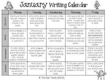 Daily Writing Prompts - January