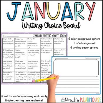 January Writing Choice Board