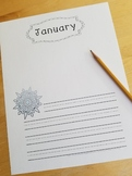 Free January Writing Paper with Guideline Font for Kindergarten & 1st Grade