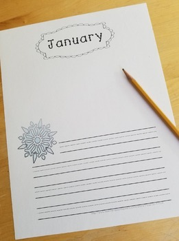 Free January Writing Paper with Guideline Font