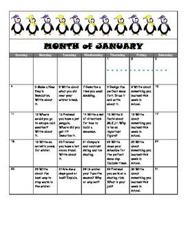 January Writing Prompt Calendar
