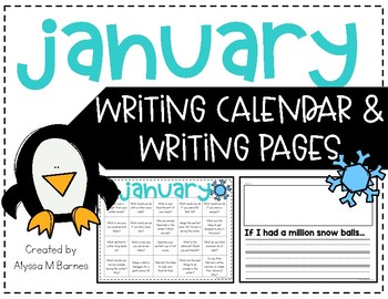 January Writing Prompt and Calendar