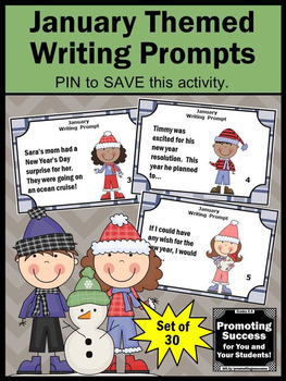 New Years Day Activities, January Writing Prompt Task Cards