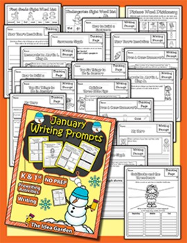 January Writing Prompts NO PREP (Kindergarten and First)