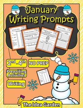 January Writing Prompts NO PREP (Second-Fourth)