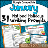 January Writing Prompts for National Holidays w/ Google Classroom Option