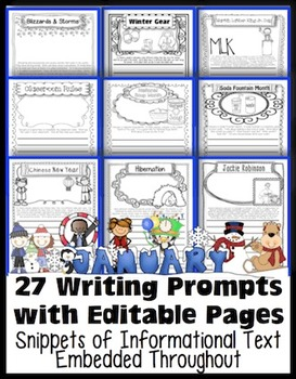 January Writing Prompts with Editable Pages: Journals, Hom