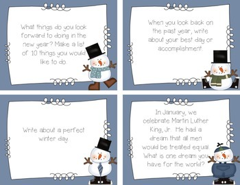 January Writing Station {Prompt Cards} Printables