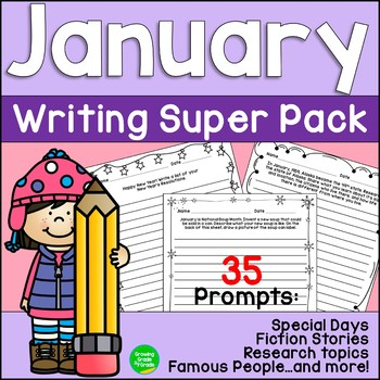 January Writing Super Pack Special Days Famous People Story Starters and More