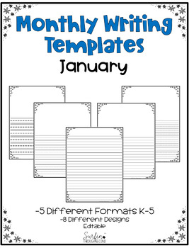 January Writing Templates Editable