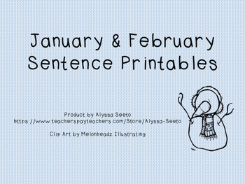January and February Sentence Printables