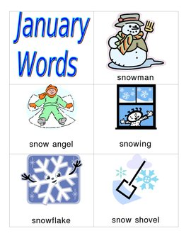 January and Winter Vocabulary Words for Writing Center