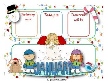 January calendar flash cards