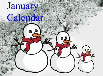 January calendar flipchart