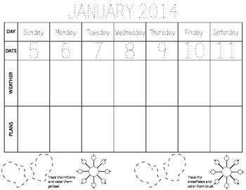 January calendar, weather, and planner