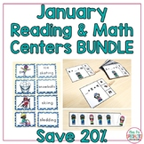 January centers BUNDLE!  Phonics, Word Work, Adding, Telling Time Tasks