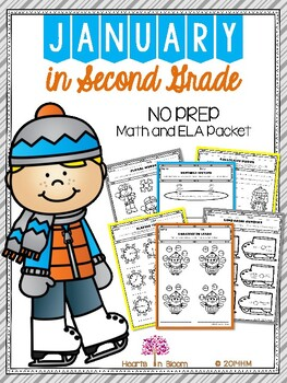 January in Second Grade (NO PREP Math and ELA Packet)