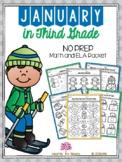 January in Third Grade (NO PREP Math and ELA Packet)