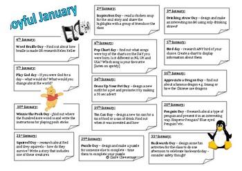 January monthly mini tasks