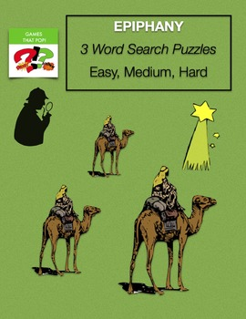 EPIPHANY Word Search - January, Bible - Easy, Medium, Hard - Early Finisher