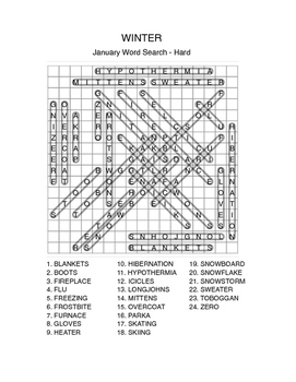WINTER Word Search - January - Cold Weather -Easy, Medium, Hard - Early Finisher