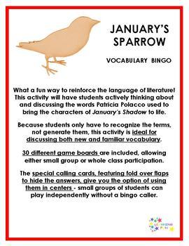 January's Sparrow Vocabulary Bingo