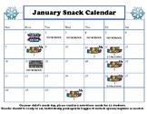 January snack calendar-editable